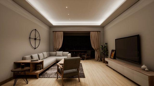 多灯组合+间接照明的功能兼具氛围的客厅无主灯灯光设计