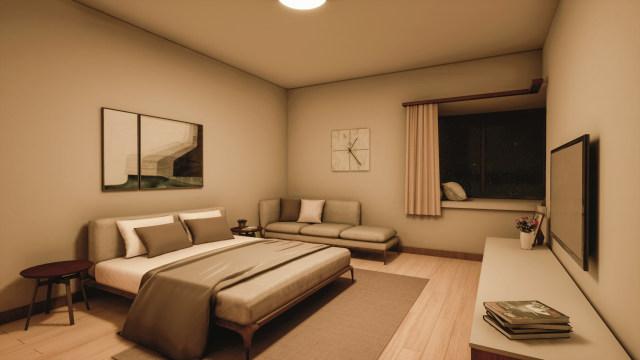 单个主灯的功能性的卧室灯光体验