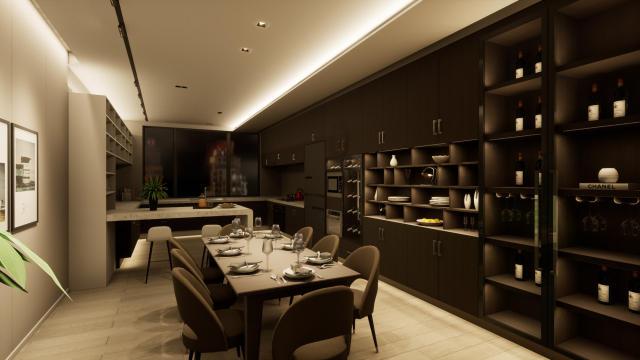 厨房现代简约(线条感)灯光设计