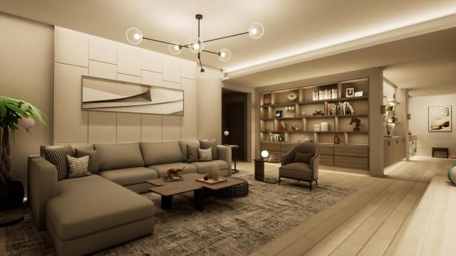 客厅温馨柔和(含主灯)灯光设计