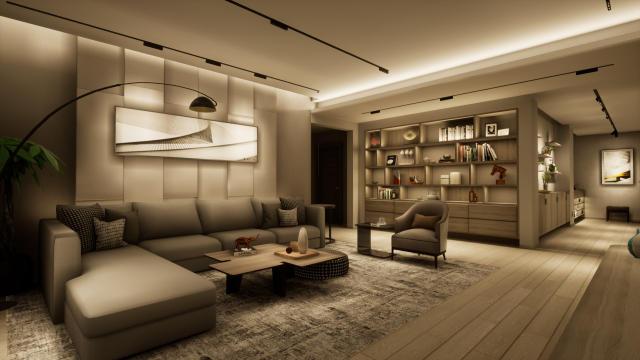 客厅简约轻奢(线条感)灯光设计