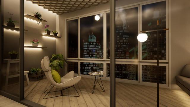 阳台温馨柔和(含主灯)灯光设计